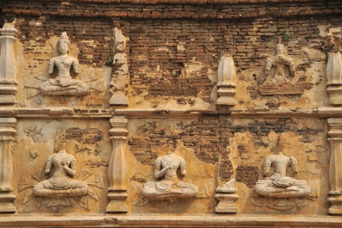 Ancient stucco at Wat Jet Yot. Photo taken in or around Essential temples, Chiang Mai, Thailand by Mark Ord.