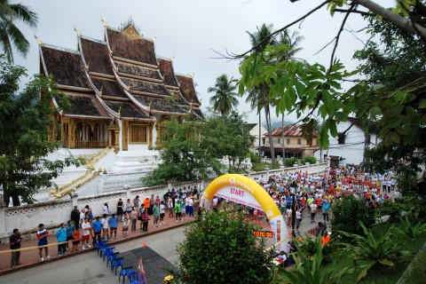 The half-marathon begins near the Royal Palace Museum. Photo taken in or around The temples of Luang Prabang, Luang Prabang, Laos by Cindy Fan.