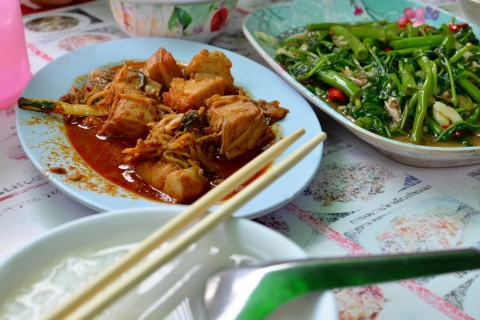No shortage of yum on a plate. Photo taken in or around A walk around Chinatown, Bangkok, Thailand by David Luekens.