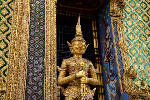 All agleam at Wat Phra Kaew. Photo taken in or around Two days in Rattanakosin historic district , Bangkok, Thailand by David Luekens.