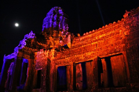 Lit up at night for Khmer New Year 2014—a rare spectacle. Photo taken in or around Bayon, Angkor, Cambodia by Caroline Major.