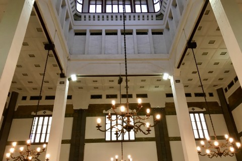 The grandiose Tawang station. Photo taken in or around Kota Lama, Semarang, Indonesia by Sally Arnold.