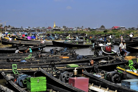 The parking at Nam Phan Market. Photo taken in or around Five-day markets, Inle Lake, Burma_myanmar by Mark Ord.