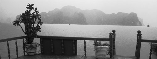 The view of Ha Long Bay from the rooftop deck