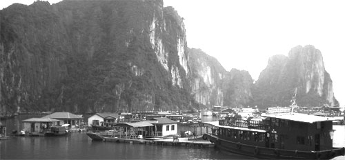 One of the ahcorages at Ha Long Bay