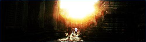 Leaving Angkor at sunset