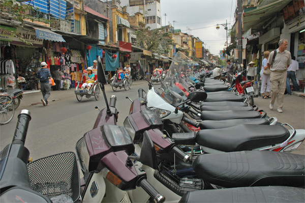 Motorbikes lined up in Hanoi