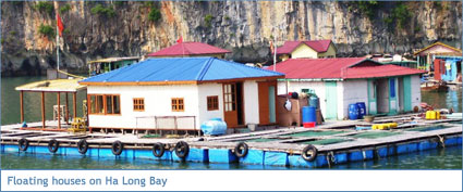 A floating house on Ha Long Bay