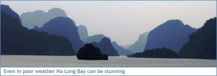 Even in poor weather Ha Long Bay can be stunning
