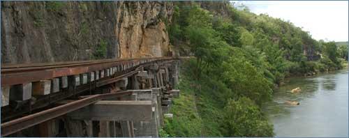 Train tracks along the Death Railway, Kanchanaburi