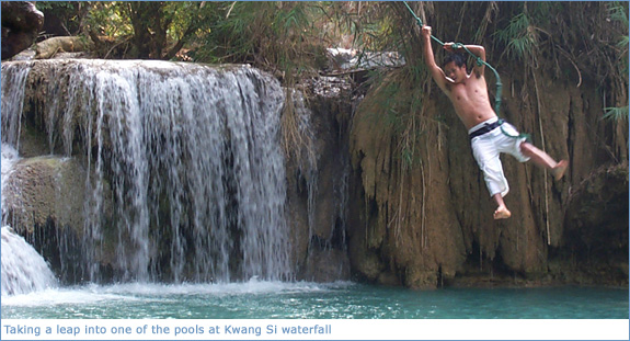 Taking a leap into one of the pools at Kwang Si Waterfall