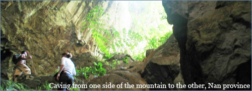 Caving from one side of the mountain to the other, Nan province