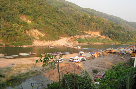 View to the boat landing at Muang Khua