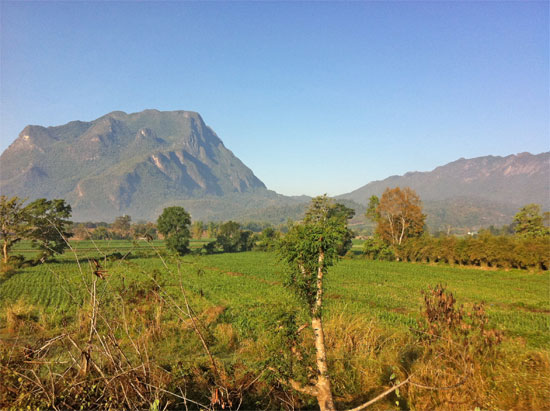 View to Chiang Dao from the road north of town