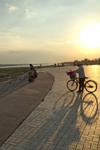 Mekong riverfront at sunset