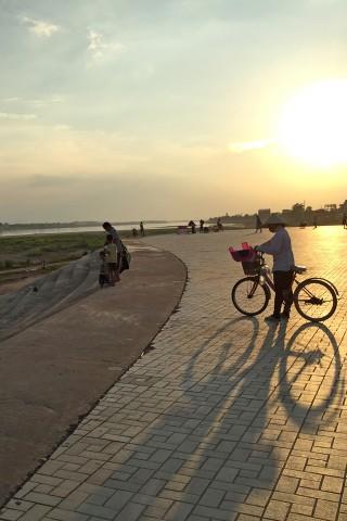Mekong riverfront at sunset