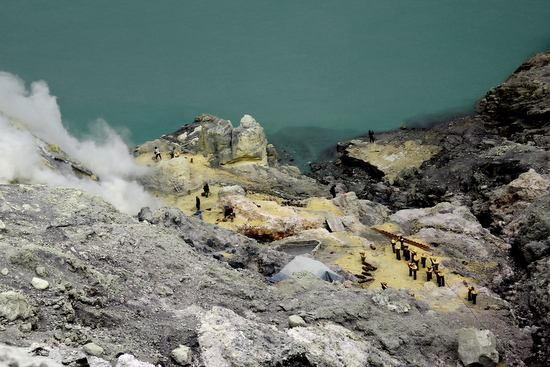 Mining sulphur deep in the Ijen Crater