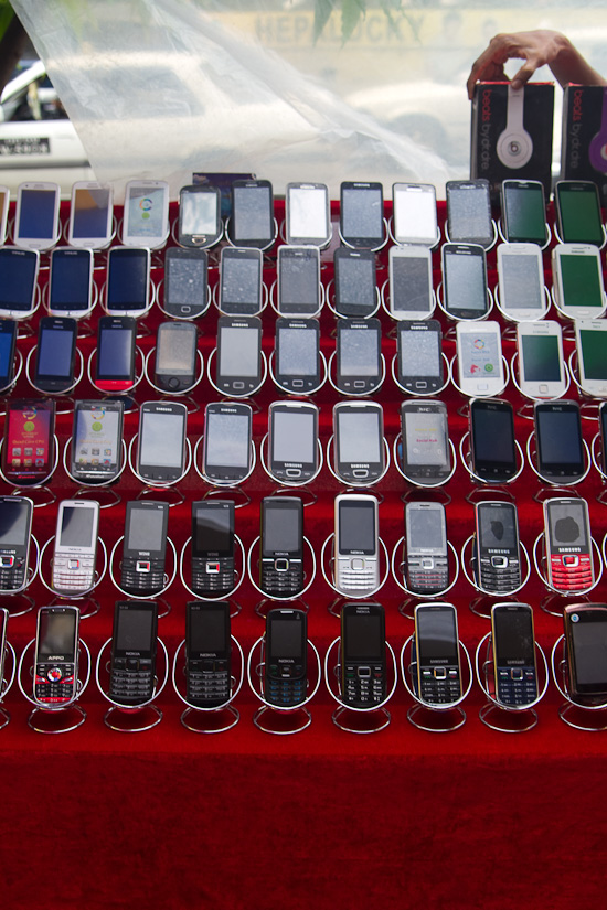 Phones at a street stall in Yangon