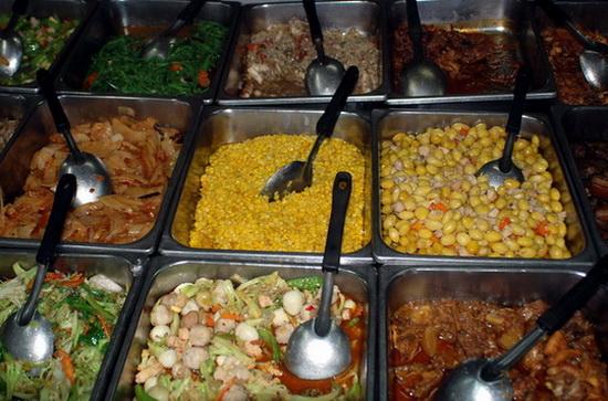 Shan buffet choices in Mandalay