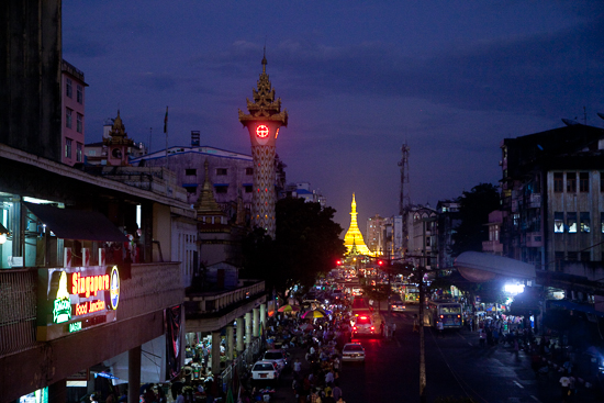 Sule - a great golden landmark for downtown Yangon