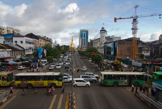 Yangon's traffic life circles around