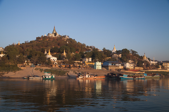 The shores of Sagaing Hill during a sunrise