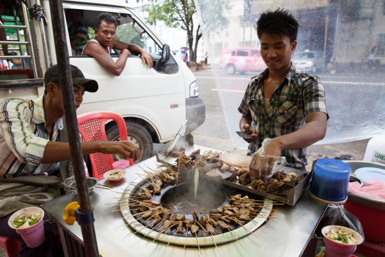 Fried pork innards - the only street vendors that travelers will not miss.