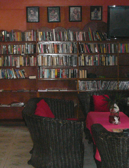 library at the small hotel, sihanoukville, cambodia