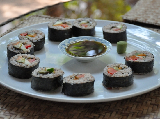 Almost too pretty to eat: The Peace Cafe's vegetarian sushi.