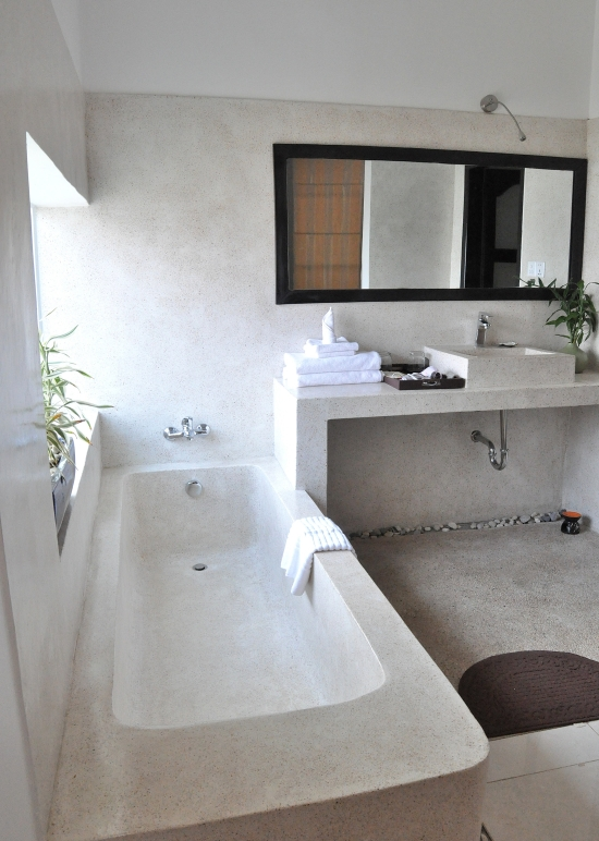 Plenty of room for a post-temple soak in your industrial chic tub.