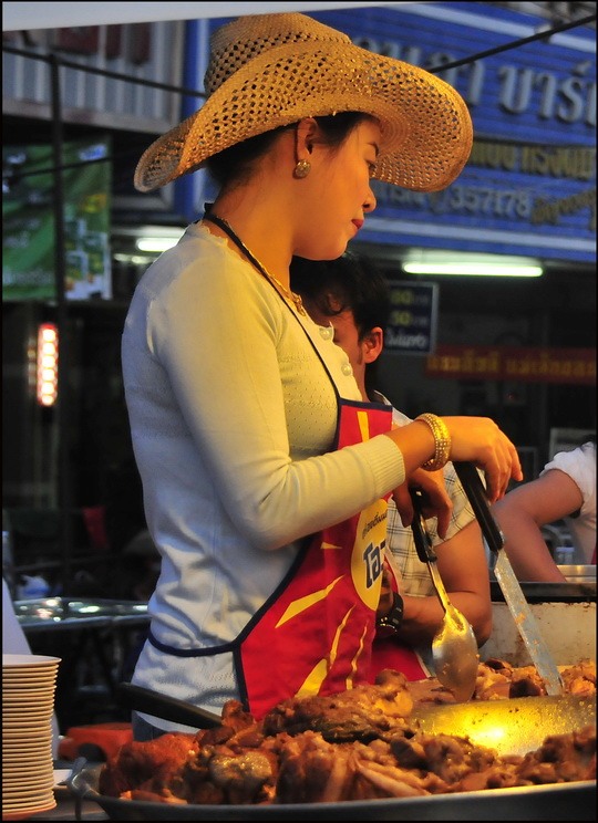 ...and here's the market's star cowboy cook again!