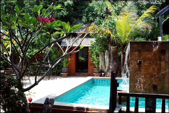 The very pleasant garden and pool area