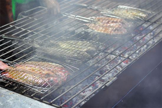 Ikan grilling in Makassar.