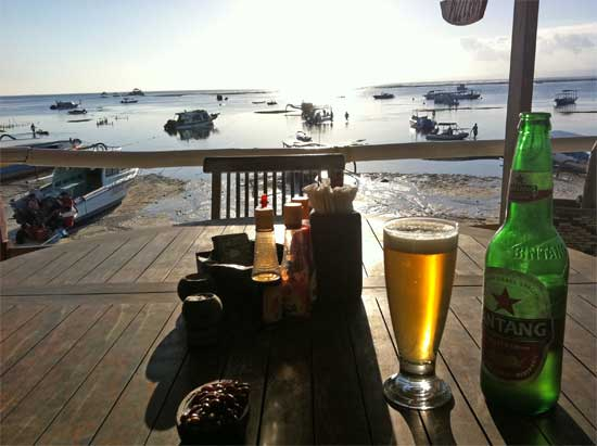 One Bintang, one bowl of peanuts, one view.