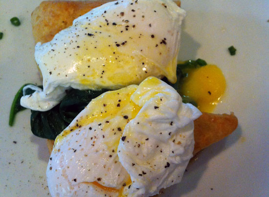 Poached eggs over spinach and buttermilk scones.