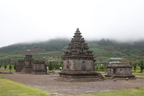 Temples scattered across the Dieng Plateau.