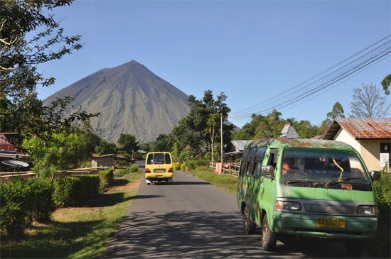 Just keep driving towards the pointy volcano.