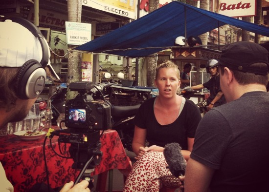 Interviewing a Bali survivor.