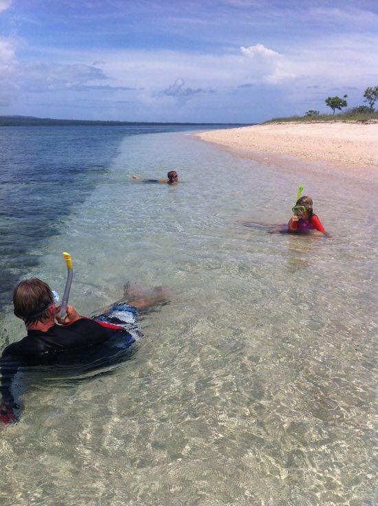 Snorkelling school near Gili Kondo.