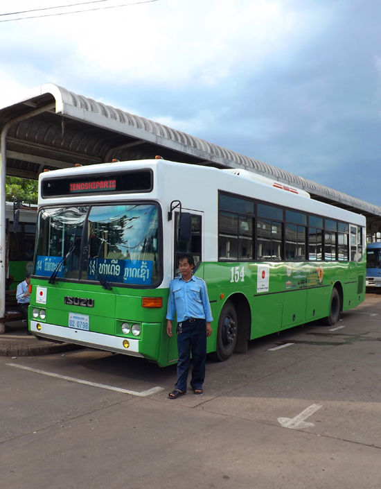 The No. 14 bus. One of many comfy air-conditioned buses donated to Laos by the Japanese government.