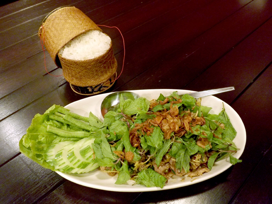 A large plate of duck laap from Lao Kitchen