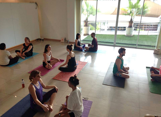 Affordable, donation based yoga  at K-Village Mall with Bangkok Farmers Market Community Yoga