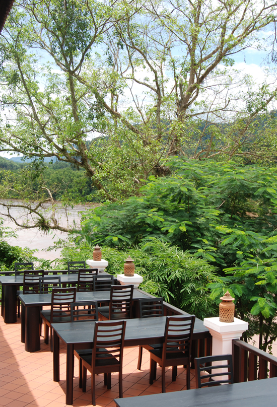 Nam Ou Riverside living up to its name with a riverside restaurant terrace.