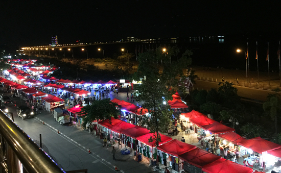 View of the night market from Borpenyang Bar.