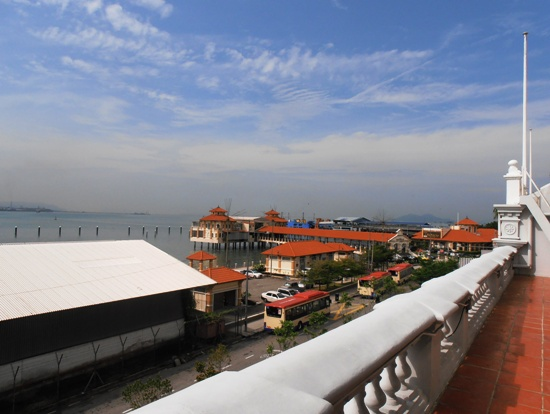 Views from the old wing over Penang Port.