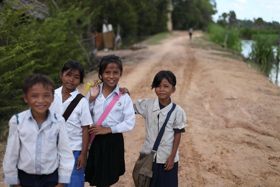 Cambodian kids, on the long road to school