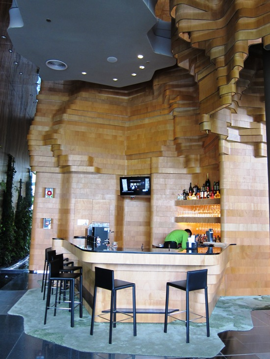 The use of natural wood is abundant throughout the hotel