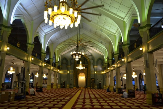 The main prayer hall at Sultan Mosque.