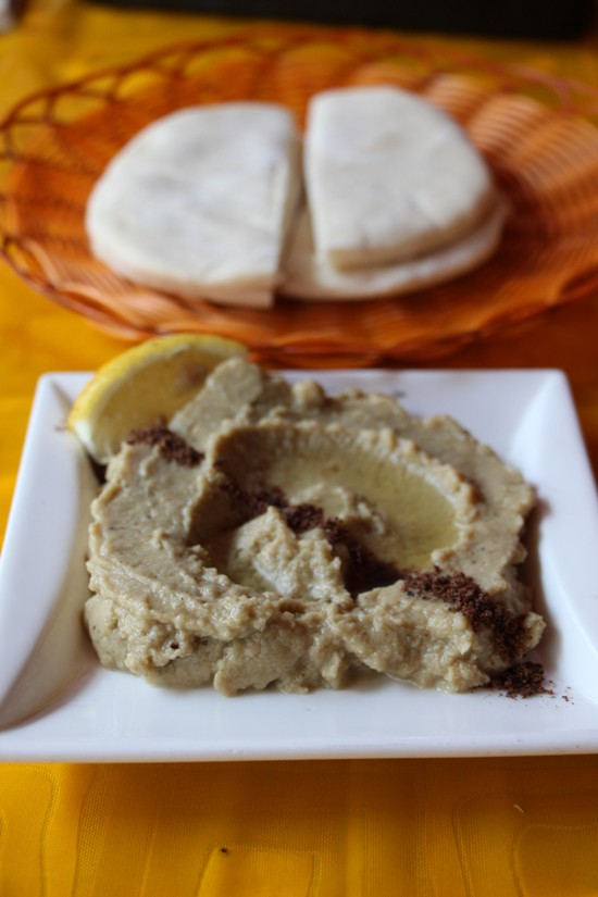 The Café le Caire's dips and breads are particularly good.  Shown here are babaganush, an eggplant dip pureed with tahini, and pita bread.