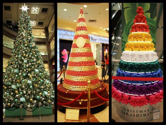 The race to have the best tree is always a key part of the race to have the best dressed building, and Takashimaya does gorgeous trees each year.  Left to right: The towering tree at the main entrance by Tiffany & Co, a macaron tree by Laduree, and a tree of teddy bears.